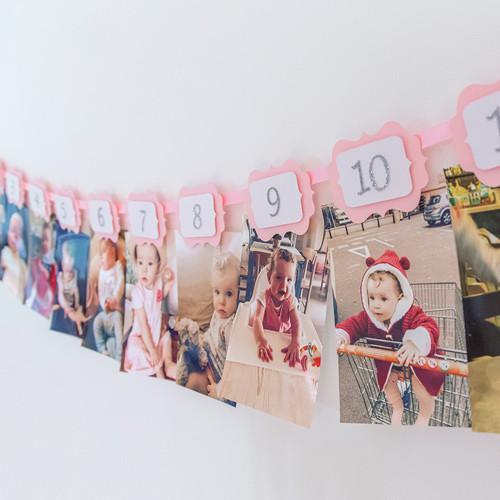 12 Months Photo Birthday Banner - First Year Birthday Garland