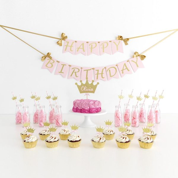 10 Princess Crown Themed Party Straws | Pink and Gold