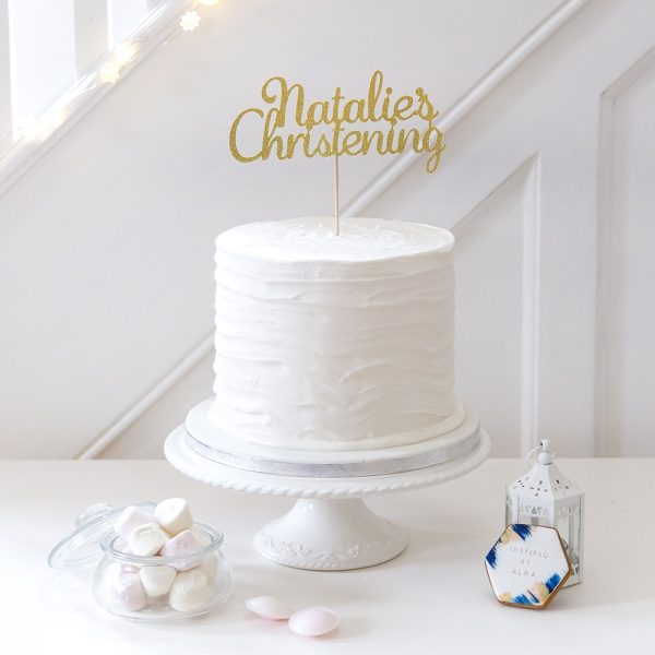 Christening cake topper WITH PERSONALISED NAME gold glitter