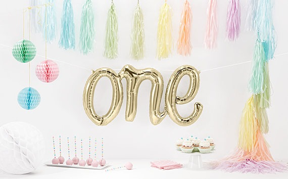 one balloon foil white gold