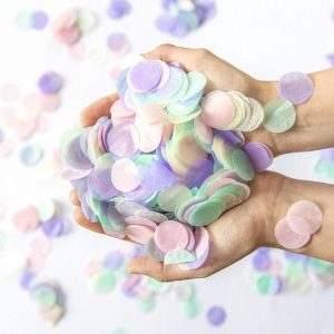 pastel colours confetti birthday decoration