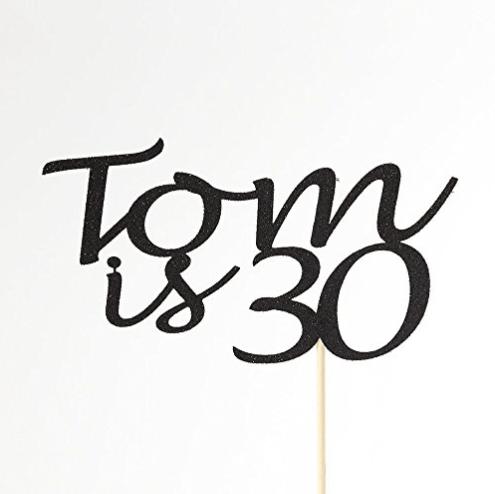 personalised birthday cake topper black glitter 30th birthday topper