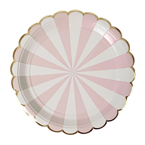 Dusty Pink Striped Plates Large