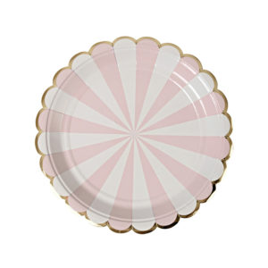 Dusty Pink Striped Plates Small