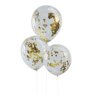 Gold Confetti filled Party Balloons