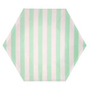 Mint Striped Plates Large