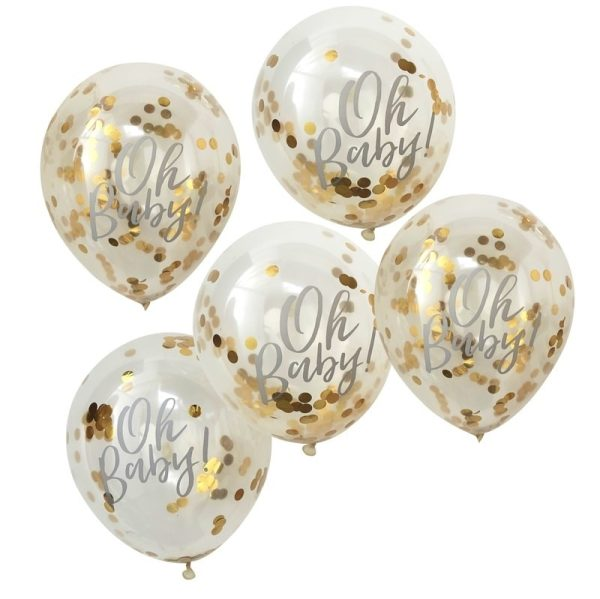 Oh Baby' printed gold confetti balloons Baby Shower