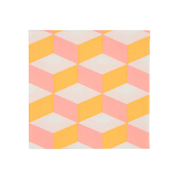 Orange And Pink Patterned Napkins Small