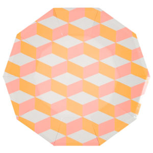 Pink And Orange Patterned Plates