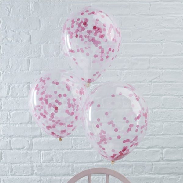 Pink Confetti filled Party Balloons