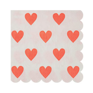 Pink Hearts Pattern Napkins Small