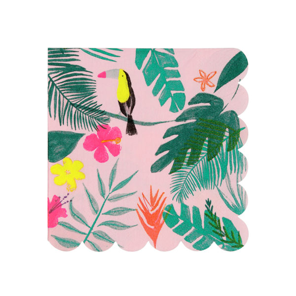 Pink Tropical Napkins Small