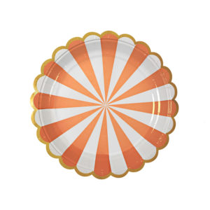Toot Sweet Orange Striped Plates Small