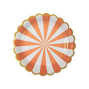 Toot Sweet Orange Striped Plates Small