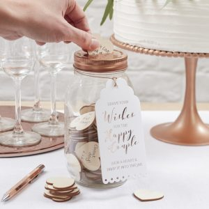 Wedding Guest Book Wishing Glass Jar Guest Book in Rose Gold