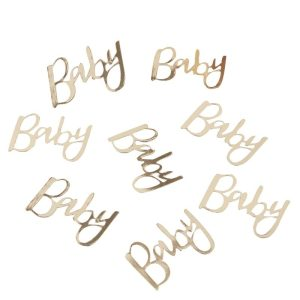 baby shower decoration 'Baby' gold confetti