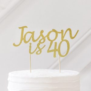 personalised birthday cake topper 40th birthday gold glitter