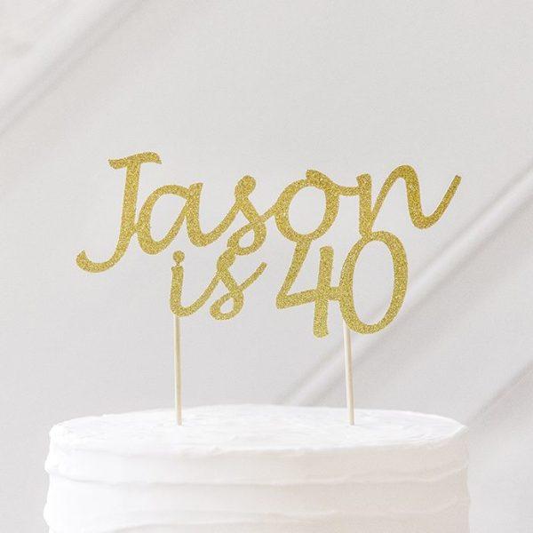 personalised birthday cake topper 40th birthday gold glitter