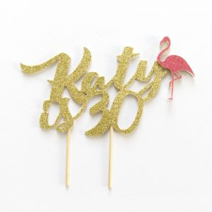 Flamingo Birthday Cake Topper personalised with name and age