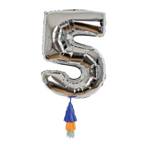 Age 5 Silver Foil Birthday Balloon