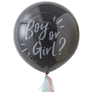 giant gender reveal black confetti balloon