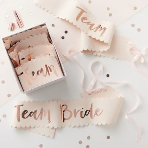 Bridesmaid Sashes Pink and Rose Gold | Team Bride