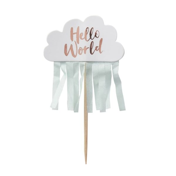 Rose Gold Cloud Baby Shower Cupcake Toppers | Hello World