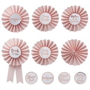 Hen do bride to be Party Badges in Pink and Rose Gold