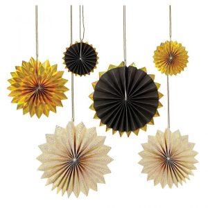 Black & Gold Pinwheel Decorations