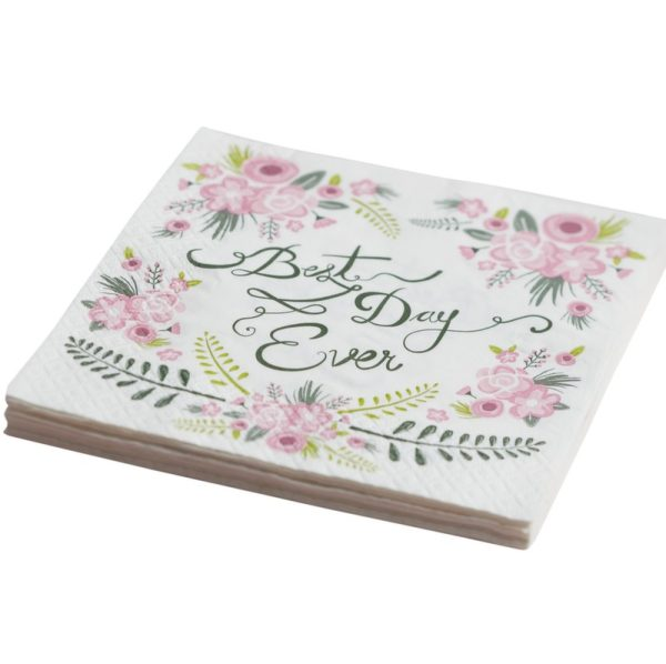 Buy Floral Fancy Napkins Best Day Ever