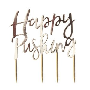 Buy Gold Foiled Happy Pushing Cake Topper