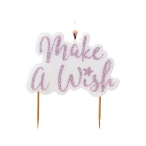 Buy Pink Glitter Candle Make a Wish