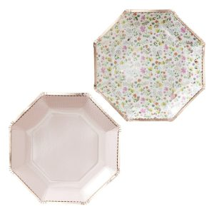 Buy Rose Gold Foiled Floral Paper Plates