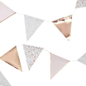 Buy Rose Gold Foiled Floral Print Bunting