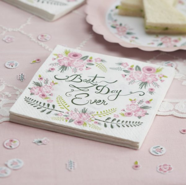 Floral Fancy Napkins Best Day Ever