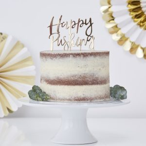 Gold Foiled Happy Pushing Cake Topper