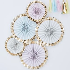 Gold Foiled Pastel Fan Decorations