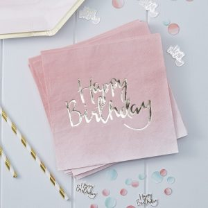Gold Foiled Pink Paper Napkins Happy Birthday