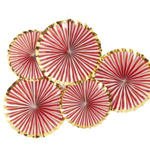 Gold Foiled Pinstripe Candy Fan Decorations