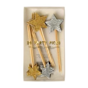 Gold & Silver Glitter Party Picks