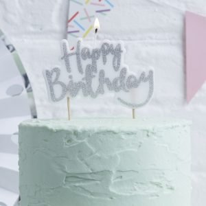 Happy Birthday Silver Candle