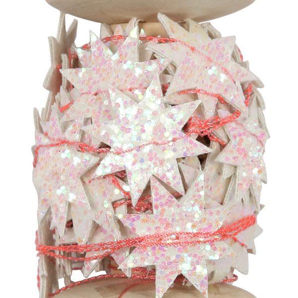 Iridescent Glitter Star Garland Spool