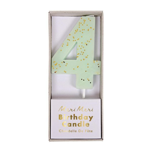Number 4 Candle Mint