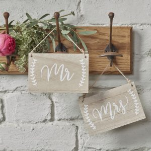 Mr & Mrs Wooden Chair Hanging Signs Boho