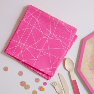 Neon Pink Geometric Paper Napkins