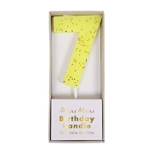 Number 7 Candle Yellow