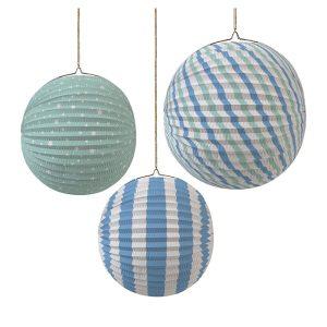 Pastel Blue Paper Globe Decorations
