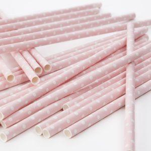 Polka Dot Paper Straws Baby Pink