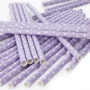 Polka Dot Paper Straws Lilac