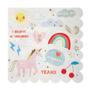 Rainbow & Unicorn Napkins Large
